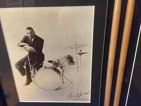Elvin jones' Drumsticks in a frame