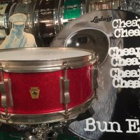 Cheap Trick, Bun E. Carlos, Ludwig Red Sparkle Jazz festival snare drum