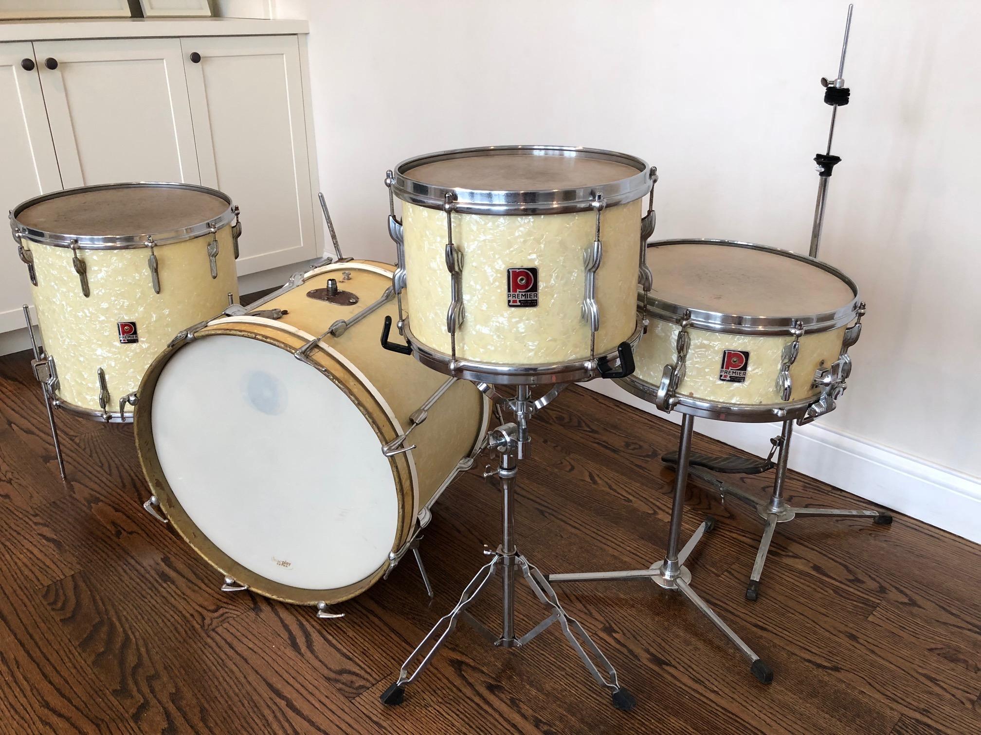 Img 2513 1 Donn Bennetts Drum Vaultdonn Vault Set Pete Best Premier White Marine Pearl Beatles