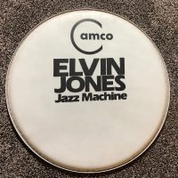 Elvin Jones camco logo bass drum head.