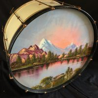 Ludwig and Ludwig 1920s, 28″ Bass Drum, Painted Calf Heads, Copper Hardware, Electric Lights.