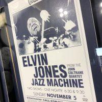 Elvin Jones' Framed mallets and gig poster